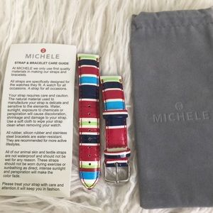 🇺🇸Genuine leather nautical striped Michele band